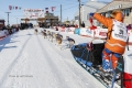 Last place finisher and Red Lantern Award winner Cindy Abbott holds up the red lantern as she runs down the finish chute in Nome during the 2017 Iditarod on Saturday March 18, 2017.  Photo by Jeff Schultz/SchultzPhoto.com  (C) 2017  ALL RIGHTS RESERVED
